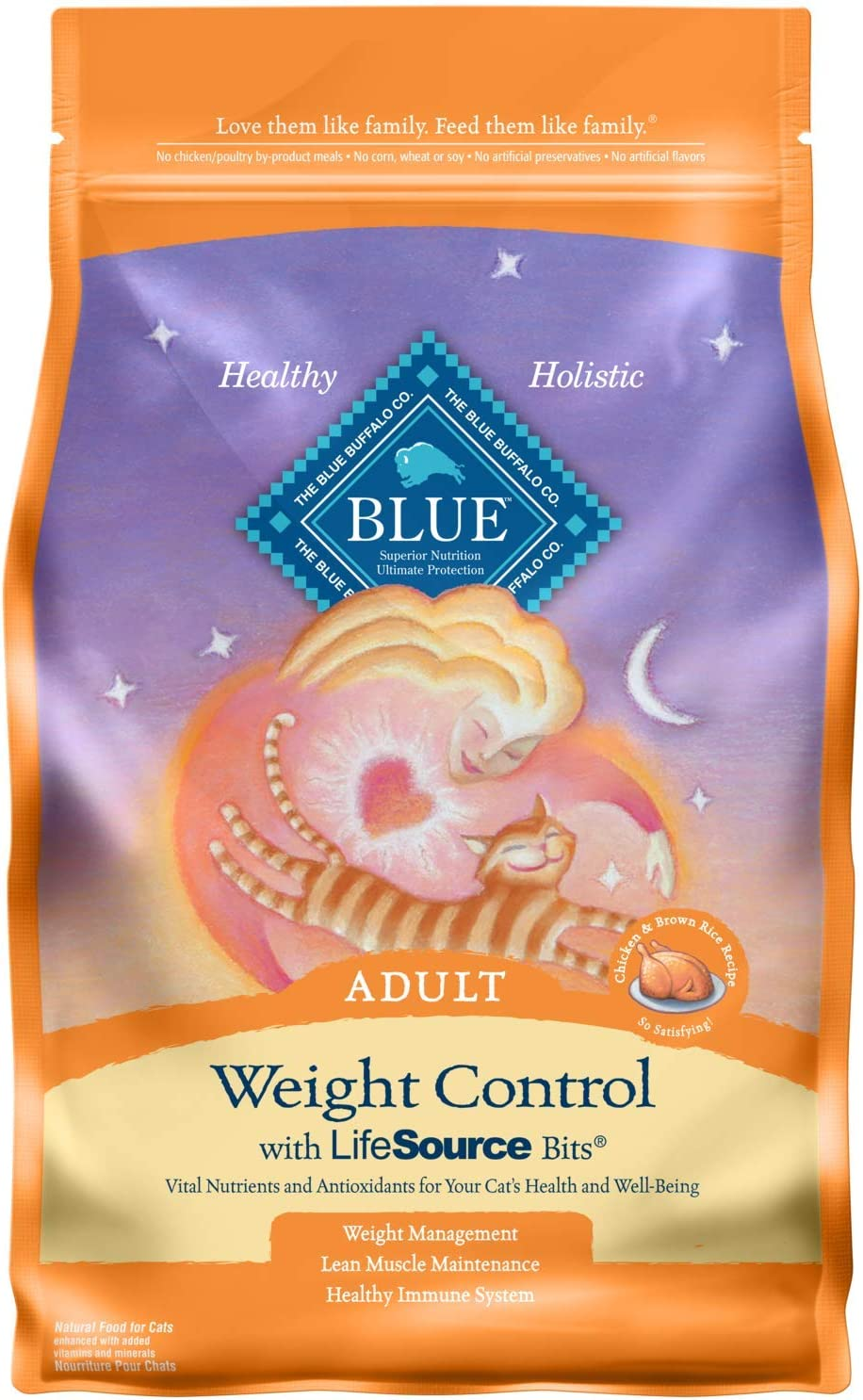 Blue Buffalo Weight Control Natural Adult Dry Cat Food Chicken & Brown Rice 3-lb
