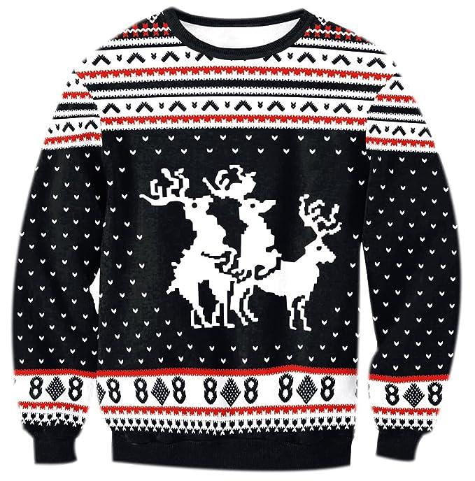 Fuxiang Sudaderas Navideñas Mujer Imprimir Navidad Sudadera Manga Larga Estampado Reno Dama Suéter Sueter Básico Camisetas Casual Invierno Negro XL: ...