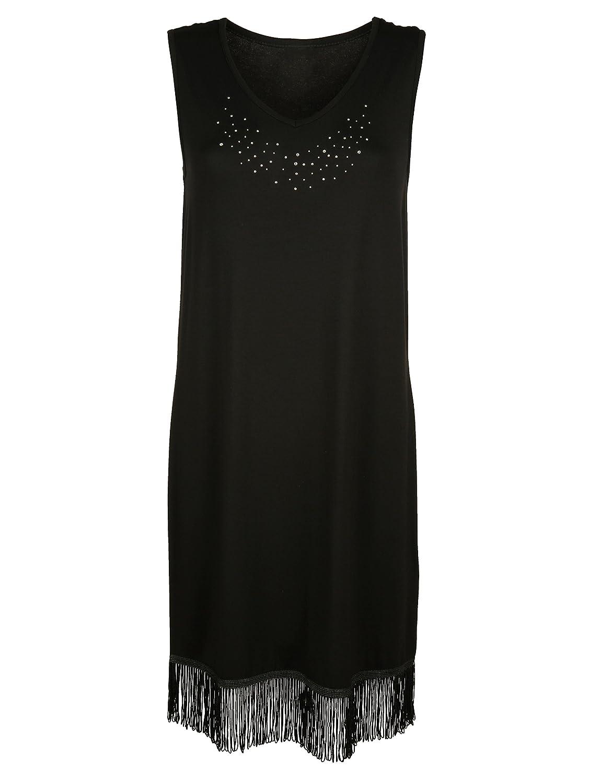 Damen Strandshirt Single Jersey mit Strasssteinchen und Fransen by Simone