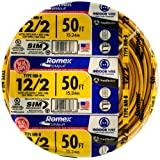 Southwire 28828222 50' 12/2 with ground Romex brand SIMpull residential indoor electrical wire type NM-B, Yellow
