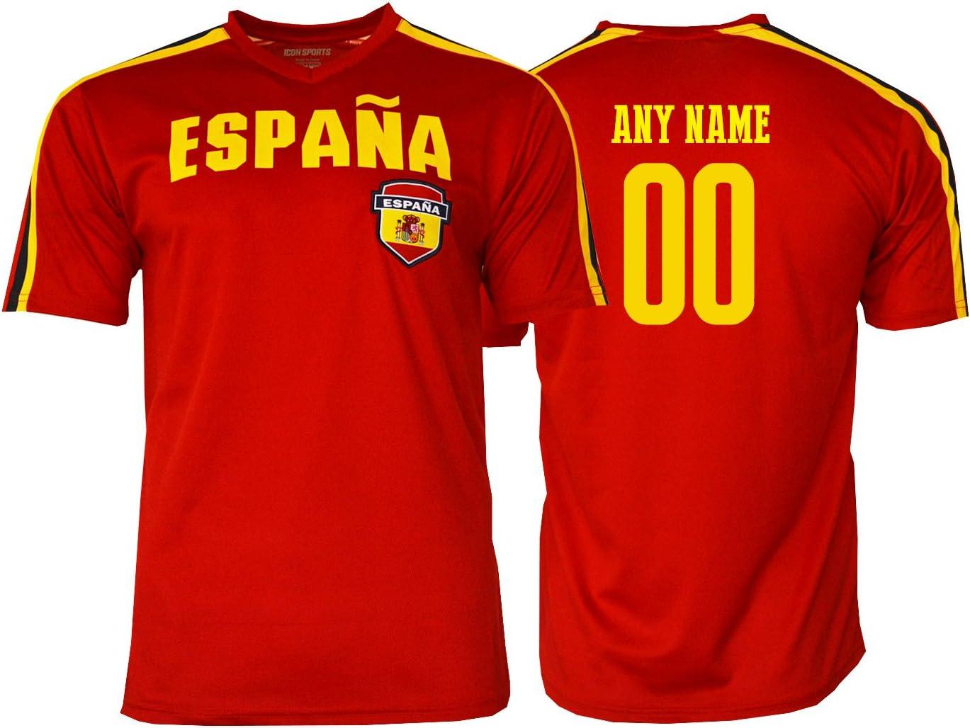 Pana España - Camiseta de fútbol con el nombre y el número de la bandera de España, Medium, Custom Name ADDS: Amazon.es: Deportes y aire libre