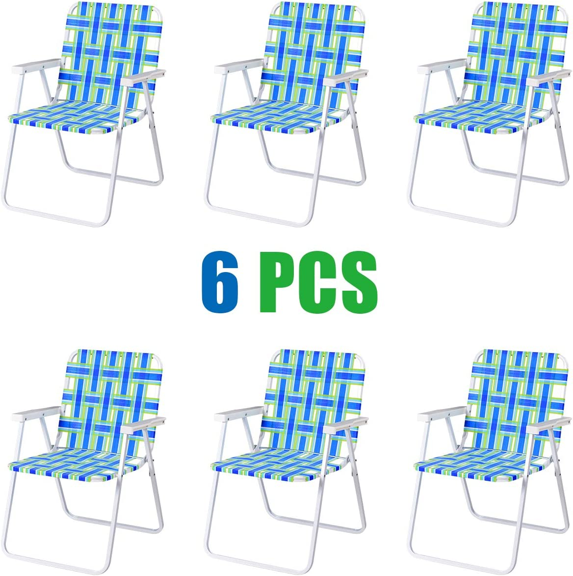 GYMAX Patio Folding Web Chair Set, 6 Pack Portable Lightweight Indoor Outdoor Dining Chair for Patio, Garden, Bay, Yard, Lawn, Heavy Duty Chair Set Blue Green