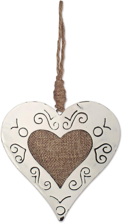 Sunset Vista Christmas Vintage Burlap Heart Ornament