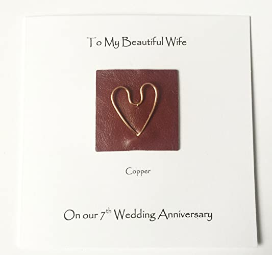 7th Wedding Anniversary Card Copper Anniversary Wife Husband Her Him