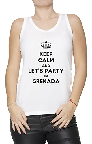 Keep Calm And Let's Party In Grenada Donna Canotta T-Shirt Bianco Cotone Women's Tank T-Shirt White