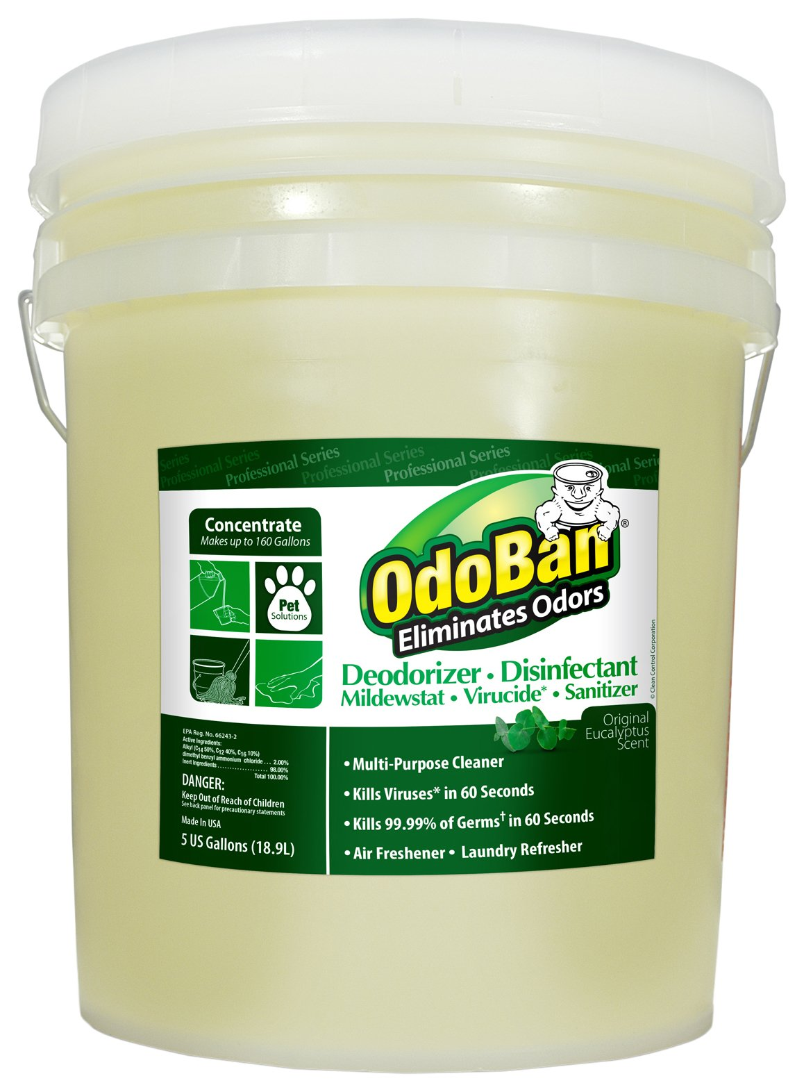 OdoBan 911062-5G Concentrate All Purpose Cleaner and Disinfectant Odor Eliminator, Eucalyptus Scent, 5 gal