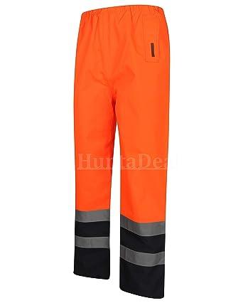 Hi Viz Waterproof Rain Over Trousers High Vis Visibility Mens Elasticated Pants
