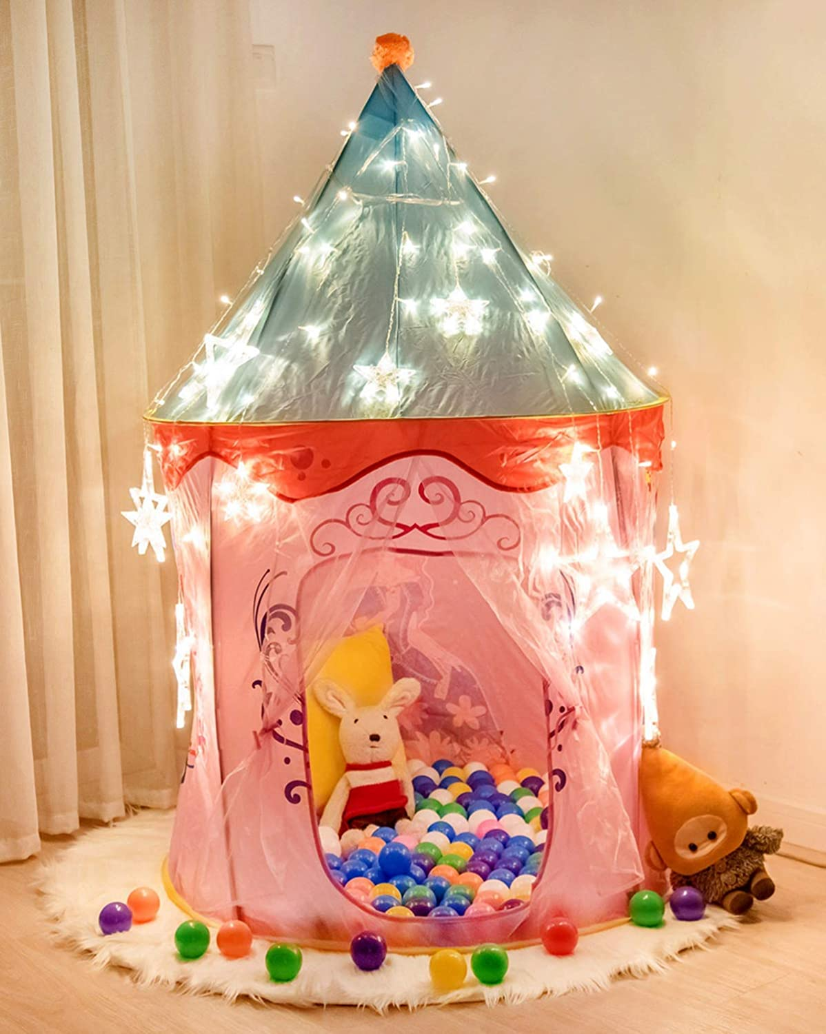 Anyshock Kids Tent, Princess Castle Play Tent Girls Pop Up Baby Toys Dollhouse Outdoor and Indoor Playhouse Tent for 1-8 Years Old Kids Boy Toddler Infant (No LED Light,Princess Pink)