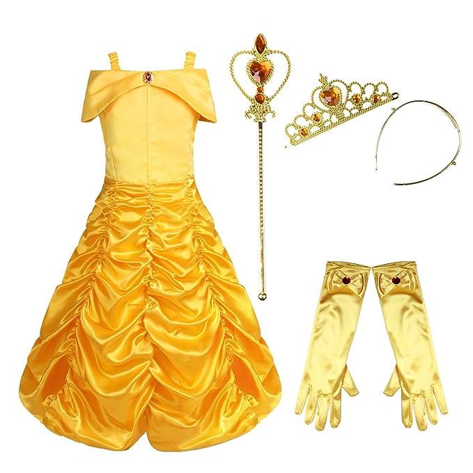 inhzoy Disfraz La Bella y La Bestia para Niña Vestido Largo de Princesa Traje Fairy Tales Cosplay Traje 4Pcs/5Pcs Disfraces Halloween Fiesta Costume