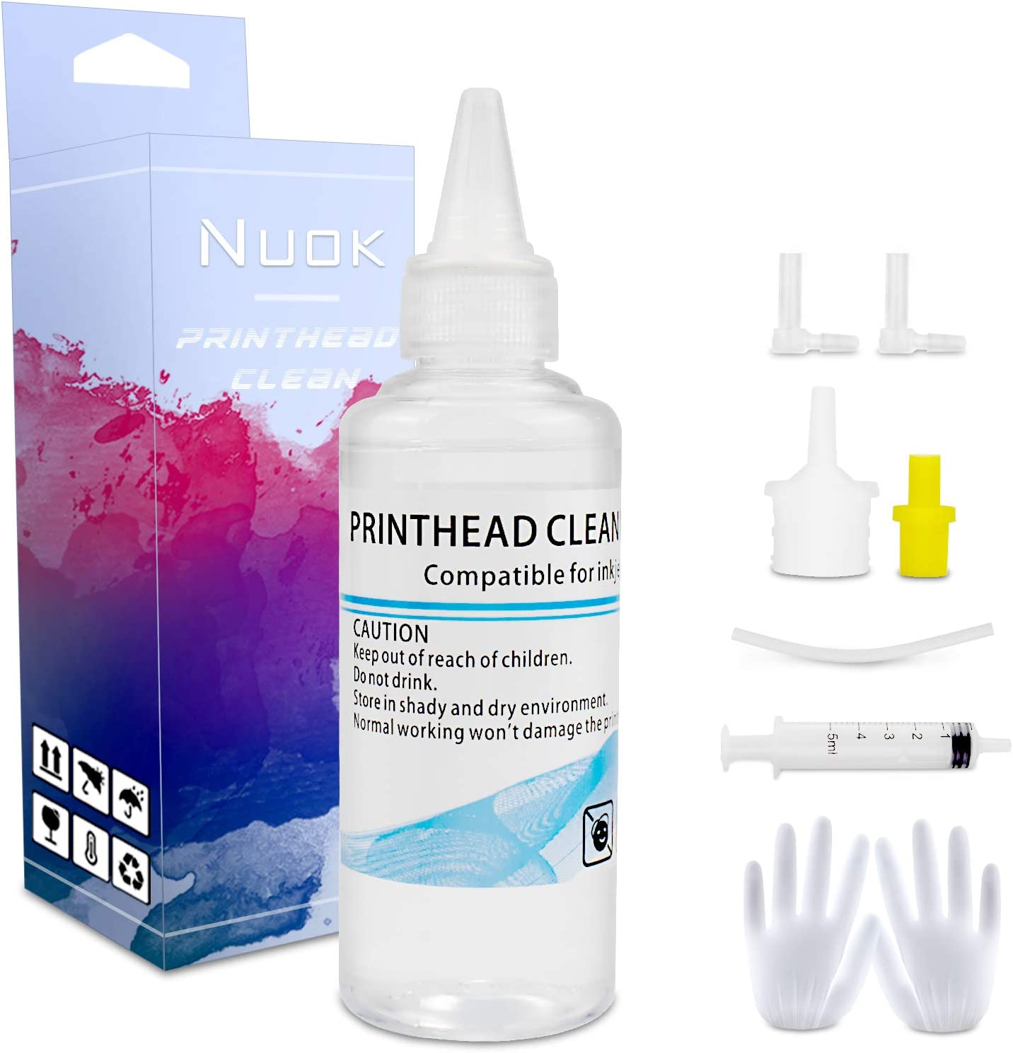 NUOK Printhead Cleaning Kit Work for Brother HP Canon Lexmark Inkjet Printer WF-7710 WF-7720 WF-3640 2550 7620 8600 8610 8620 MG5225 WF-2750 WF-2650 ET-2750 ET4750 Printer Nozzle Cleaner, 100ML