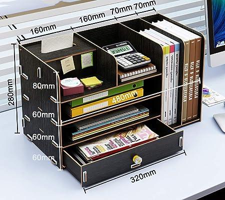 Carpetas Archivo titular caja de almacenamiento de datos caja de libro soporte de oficina carpeta de canasta de archivos biblioteca de estudiantes de múltiples capas papelería de mesa simple con estan: Amazon.es: