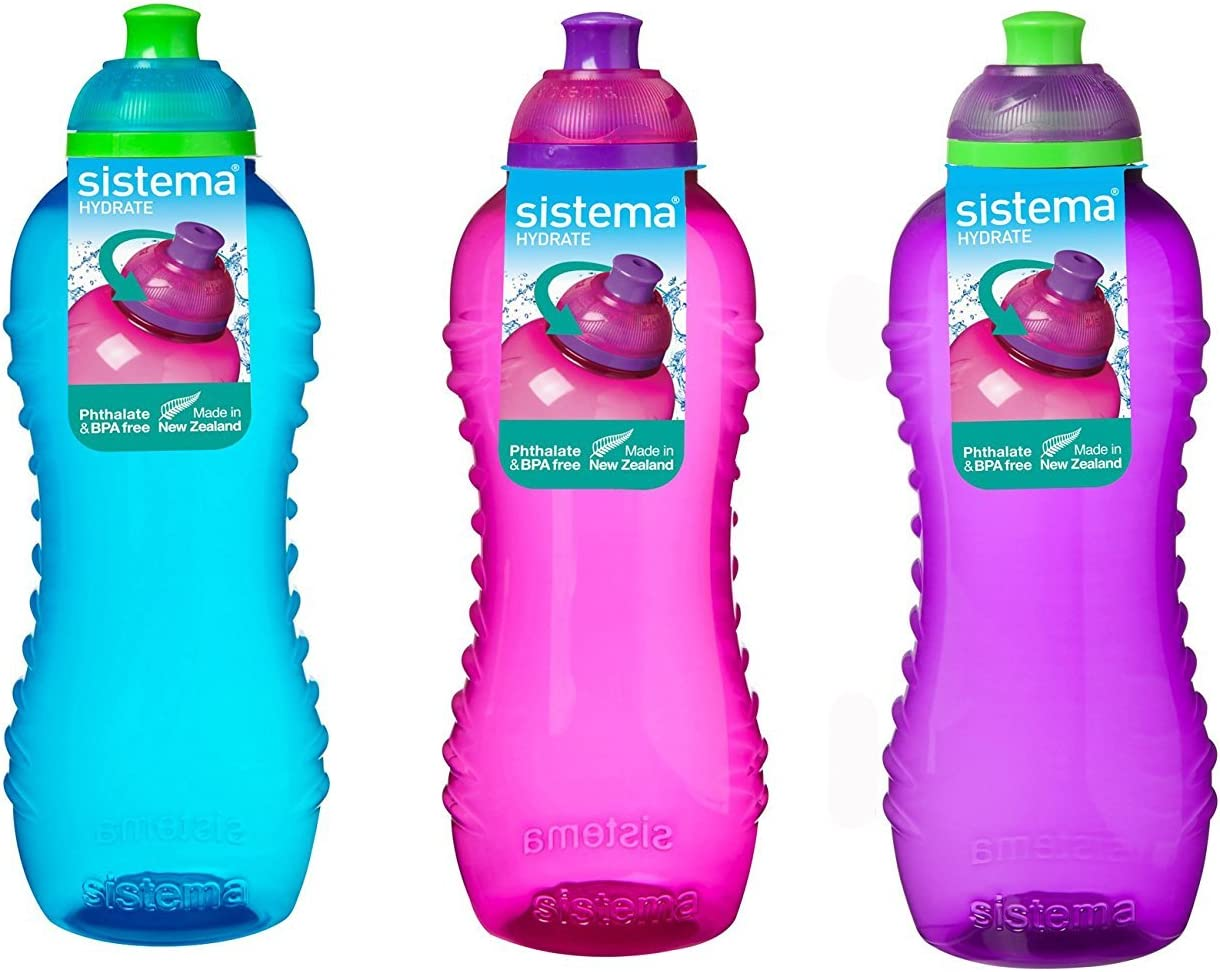 3 botellas con sistema Twist n Sip, 460ml, colores azul, rosa y Púrpura