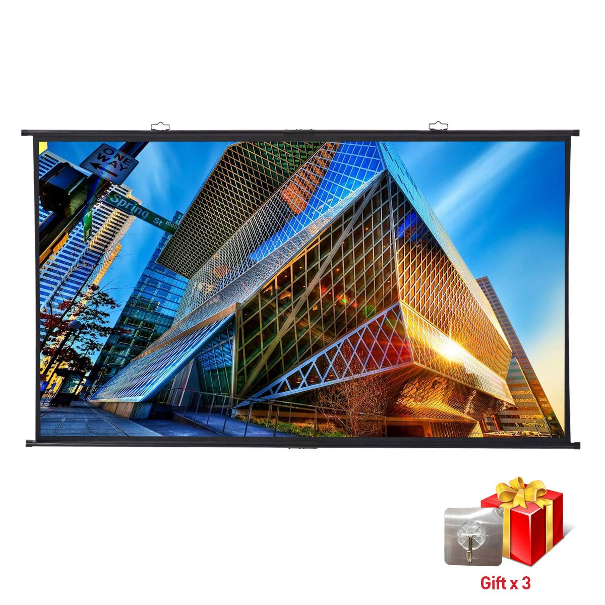 Projector Screen, Manual Pull Down, Excelvan Portable Diagonal 120'' 16:9 Wrinkle-Free 4K HD Home Cinema Video Screen, Easy Install on Wall Mount, Strong Sticky Hook Included