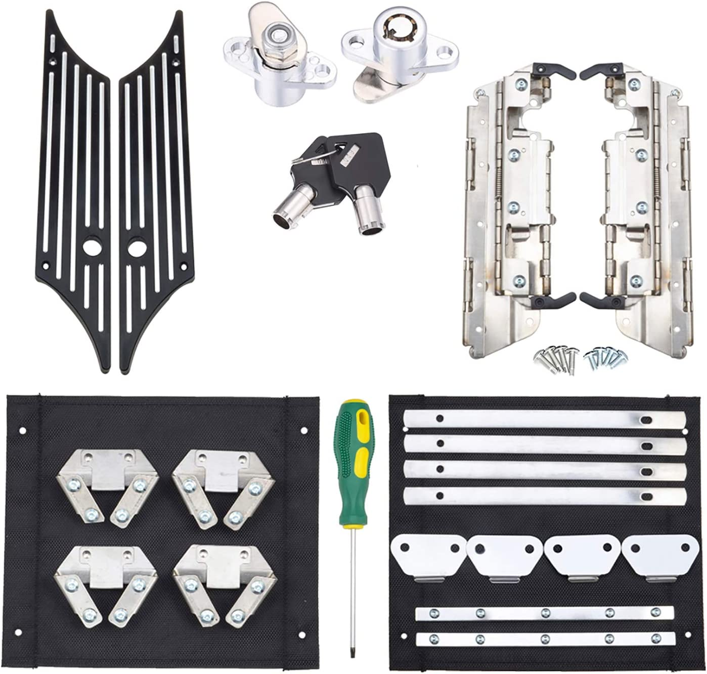 Aluminum Black Latch Covers Locks Keys Saddle Bag Compatible for Harley Davidson Touring Street Glide//Electra Glide//Road King//Road Glide 1993-2013 Amazicha Saddlebag Latch Hardware Kit