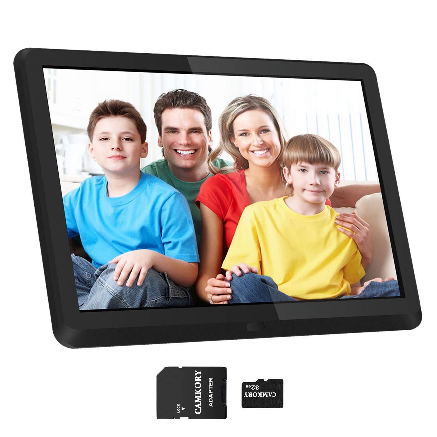 1920x1080 16:9 IPS Screen 10 inches Digital Photo Frame + 32GB SD Card HD Digital Picture Frame Widescreen, 1080P HD Video Frame, Photos Auto Rotate, Support Thumb USB Drive, SD/MMC/MS Card(Black) by Camkory