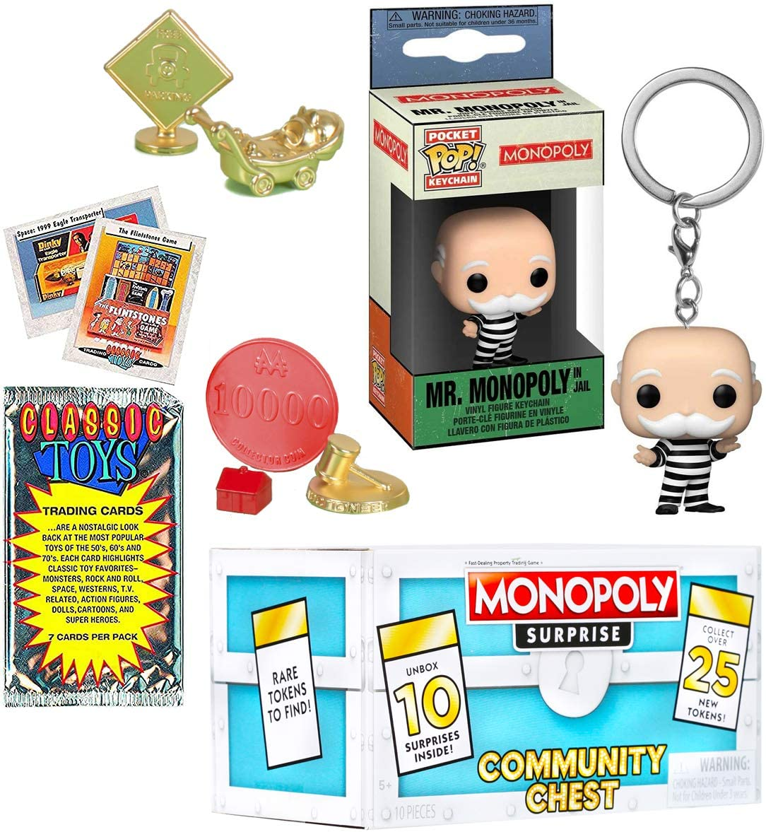 Jailed Pocket Pop! Mr. Monopoly Figure Icon Bundled with Classic Retro Game Token Exclusive Multi-Surprise Peel 'N Reveal Community Chest Box + Keychain Hanger + Vintage Toy Trading Cards Pack 3 items