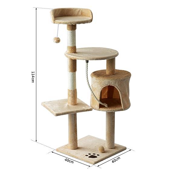 PawHut Árbol para Gatos Rascador Grande con Plataformas Casetas ...