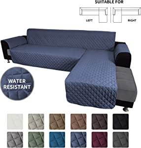 Easy-Going Sofa Slipcover L Shape Sofa Cover Sectional Couch Cover Chaise Lounge Slip Cover Reversible Sofa Cover Furniture Protector Cover for Pets Kids Children Dog Cat(Small,Dark Blue/Dark Blue)