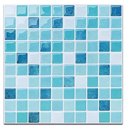 Peel And Stick Tile Backsplash For Kitchen Bath Self Adhesive Tiles Stickers Mosaic Light Blue 10 X 5 Sheets Amazoncouk Home