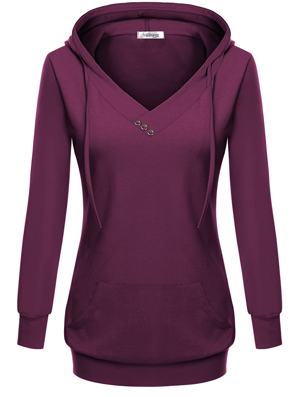 Meaneor Damen Herbst Winter Sweatshirt Pullover Mit Tasche Kaputzenpulli Pulli Langarmshirt Hoodie Mit Kapuze Kapuzenshirt Loose Fit