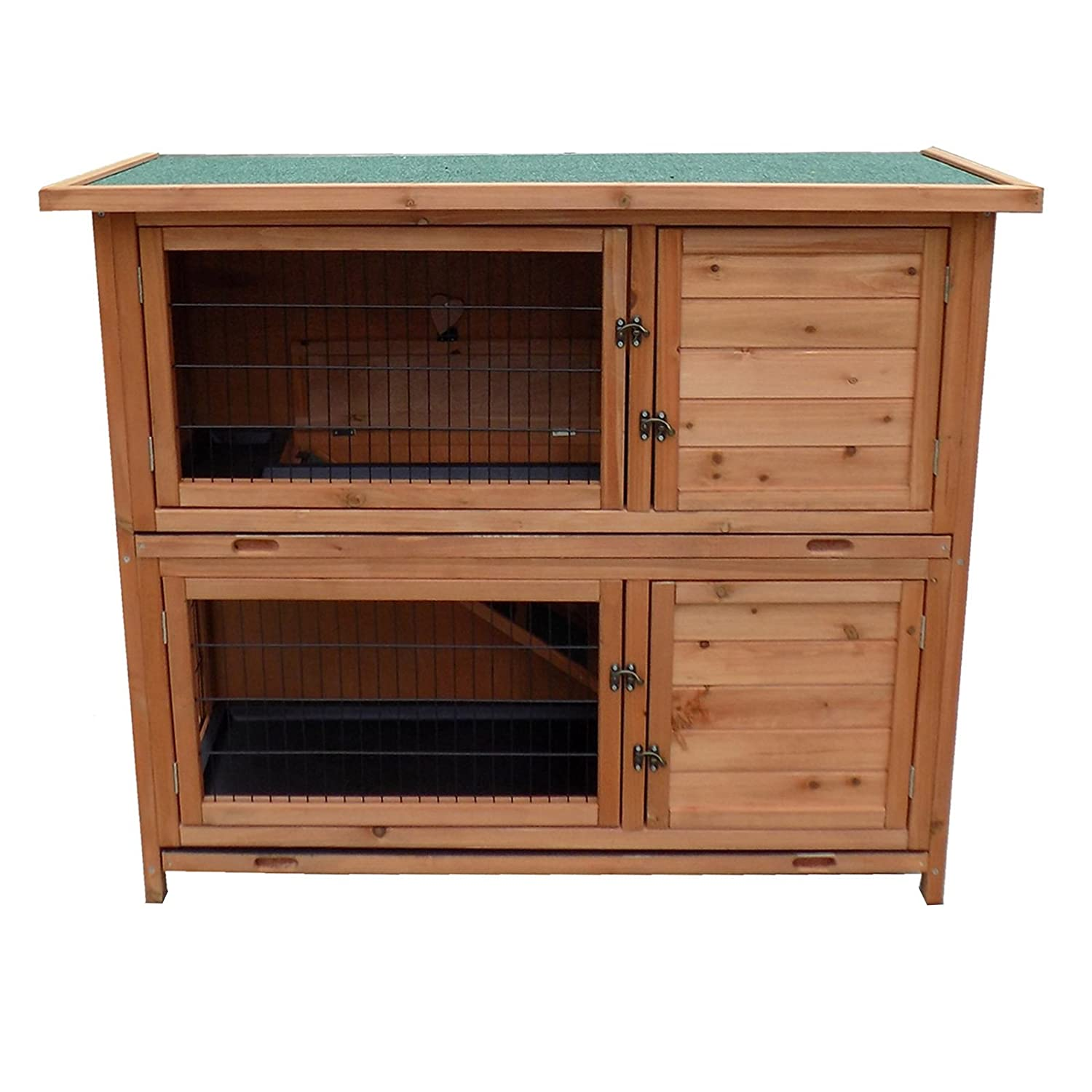 2-Story Rabbit Hutch Wood Pet House Guinea Pig Hamster