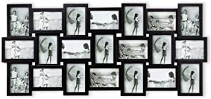 Hello Laura Photo Frame Picture Frame 21 Piece Wall Picture Collage Collection Set - Massive Multiple Photo Sockets 6x4 inch Black Display Frames