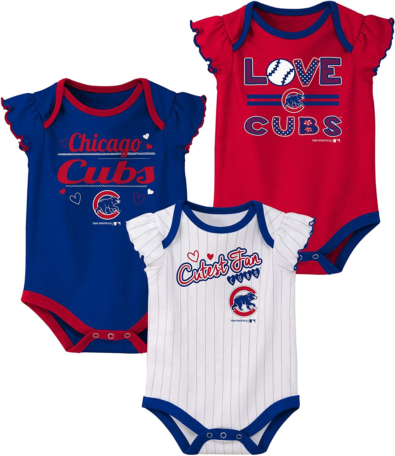 Outerstuff Chicago Cubs Infant Baby Girls 3 Pack Cutest Fan Creeper Set