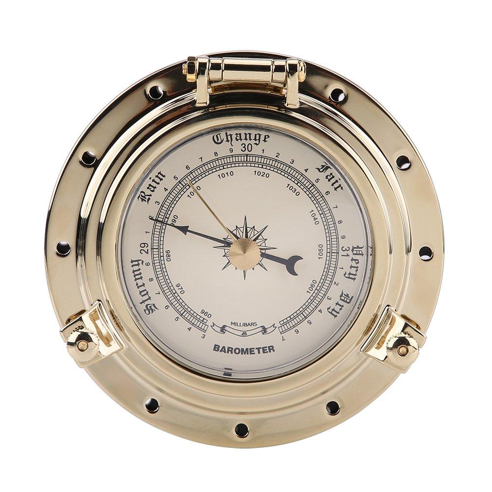 Acouto Rome Retro Barometer Clock Temperature Humidity Meter for Navigation Marine RV Yacht Boat SUV(barometer1)