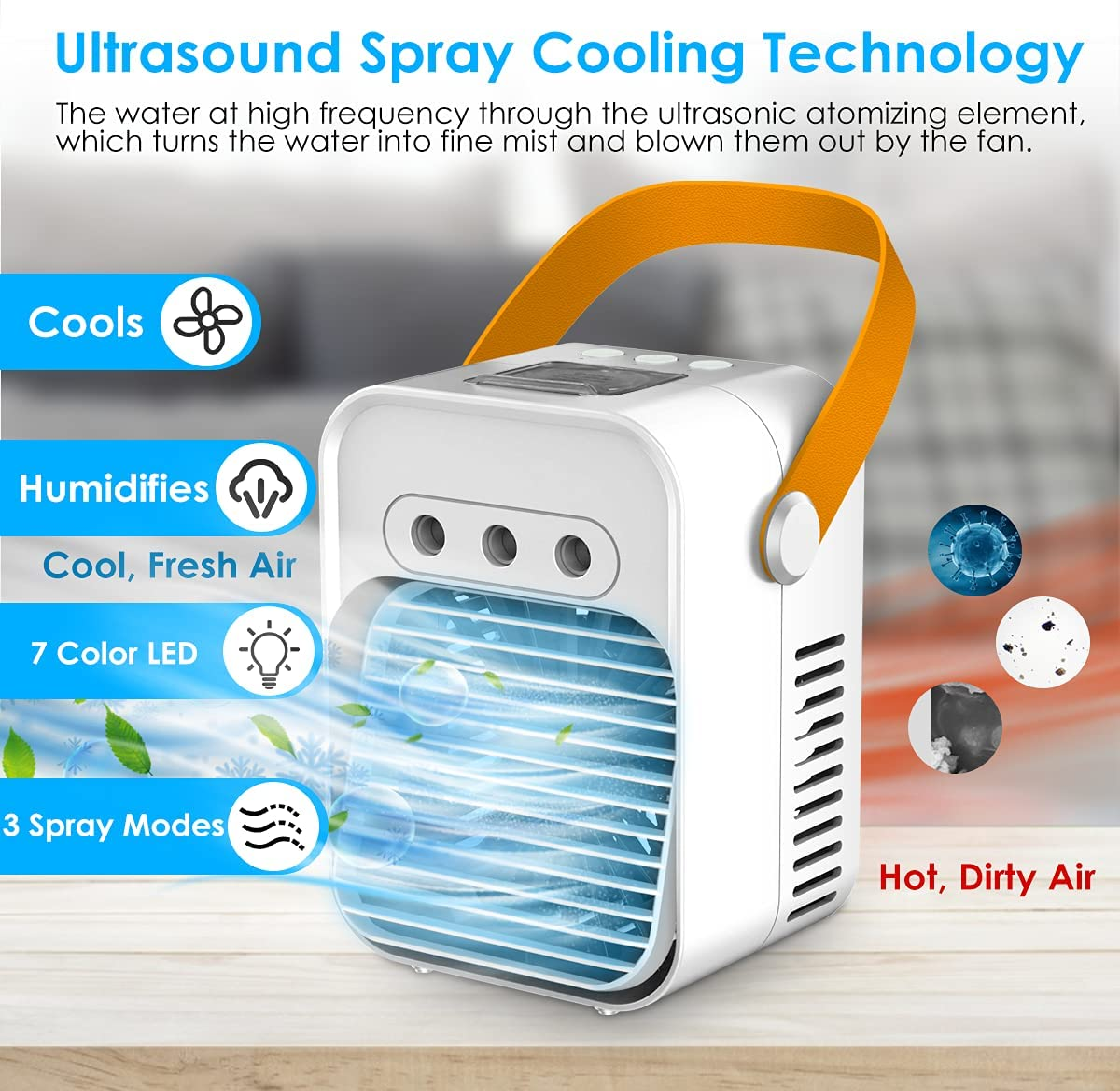 Portable Air Conditioner Fan Personal Evaporative Air Cooler Quiet ...