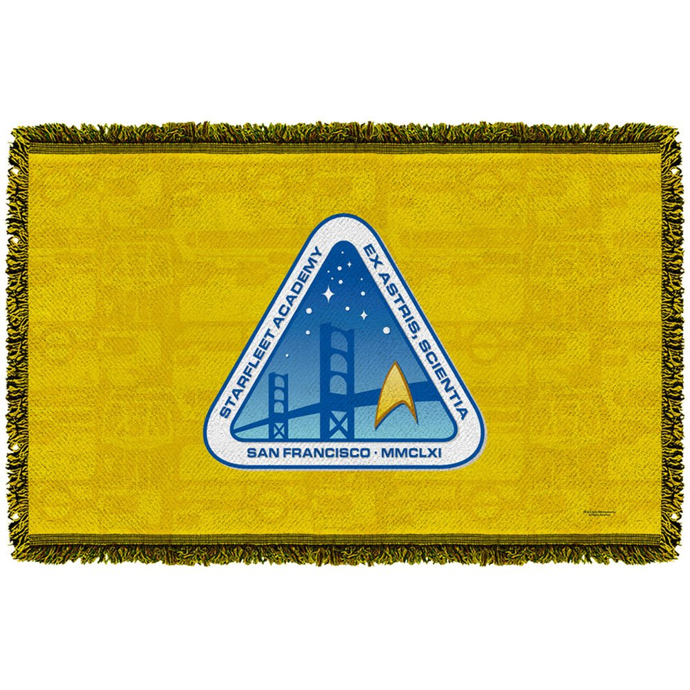 Star Trek Star Fleet Academy Woven Throw Blanket (White, 48x80)