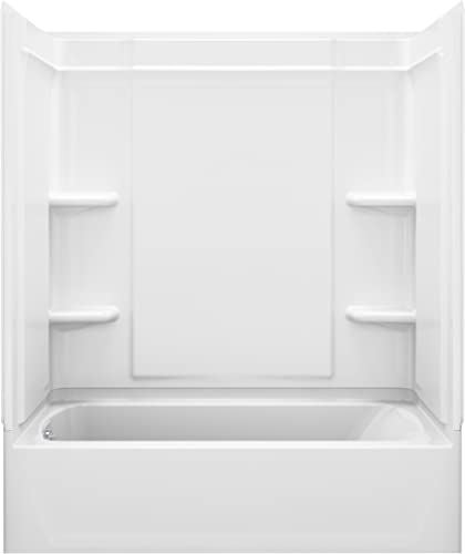 STERLING, a KOHLER Company 71320116-0 Ensemble 33.25-In X 60.25-In X 76.25-In Bathtub And Shower Kit with Left Hand Drain, White
