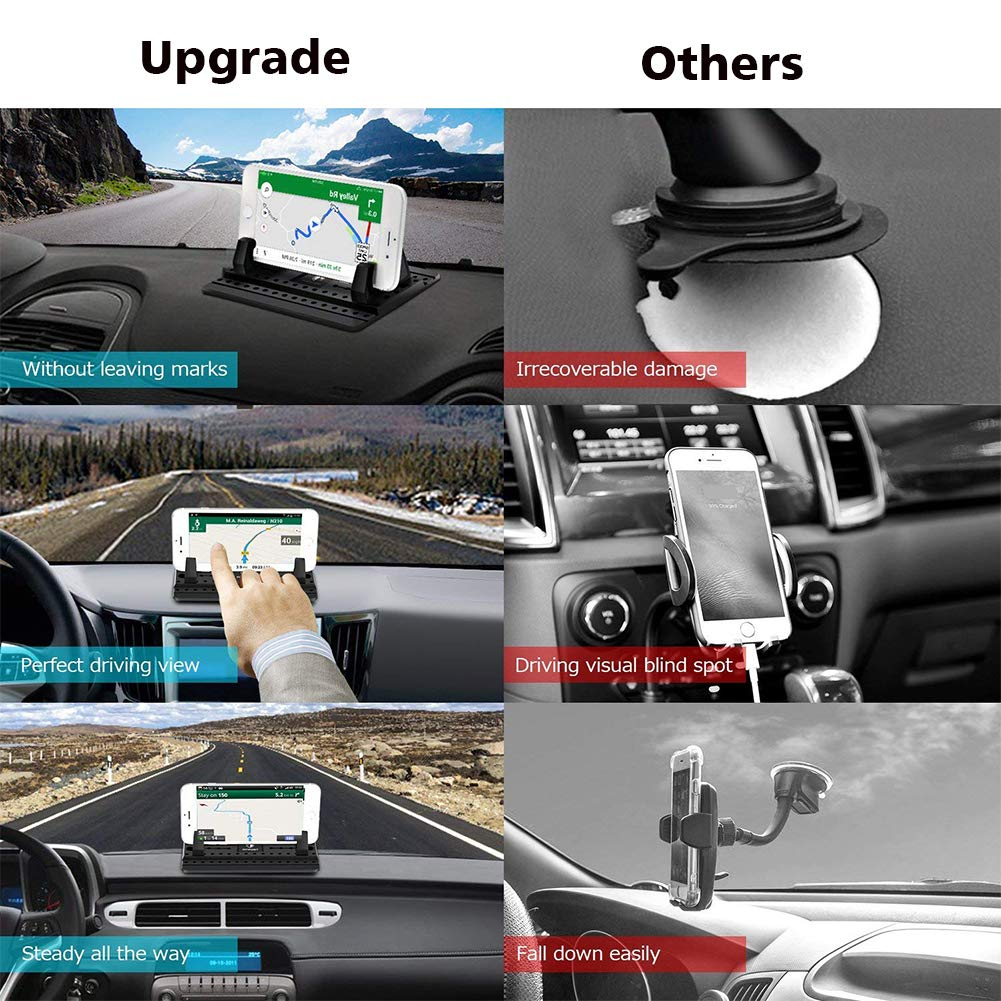 LEMOZO Cell Phone Holder for Car Note 8 Galaxy S9 S8Plus 4351511424 Universal Silicone Anti-Slip Car Phone Mount GPS Holder Mounting in Vehicles Pickup Compatible Phone X 8 7 Plus