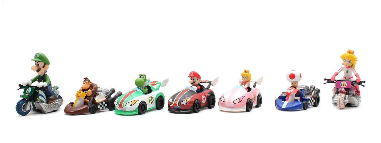Gacha Tomy Mario Kart Wii Pull Back Racers Yoshi Mario