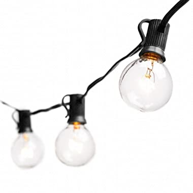 Deneve 50 Ft Globe String Lights G40 Bulbs, Black - Connectable Strings Lights for Bedroom, Outdoor String Lights, String Lights Outdoor, String Lights Indoor