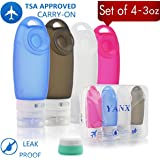 YANX Leakproof Travel Bottles Set Silicone Travel Containers and Protable Clear Travel Bag