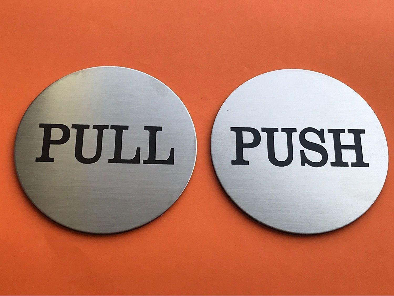 "Do4U 3"" Brushed Stainless Round Premium Push Pull Door Sign Sticker Push/Pull Set - Stainless Steel (1 Pair)"