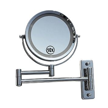 Kosmetikspiegel Schminkspiegel Wandspiegel Mit Led Beleuchtung Und 10-fach Zoom Badzubehör & -textilien Möbel & Wohnen