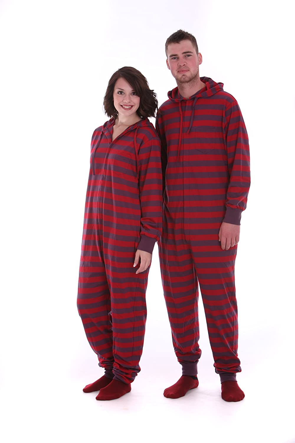 Amazon.com: Funzee Adult Onesie Non Footed Pajama Striped Red ...