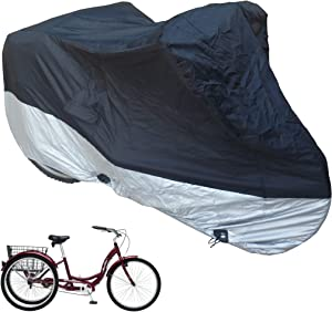 """Adult Tricycle Cover fits Schwinn, Westport and Meridian - Protect Your 3-Wheel Bike from Rain, Dust, Debris, and Sun when Storing Outdoors or Indoors - Black ss400 75""""L x 30""""W x 44""""H"""