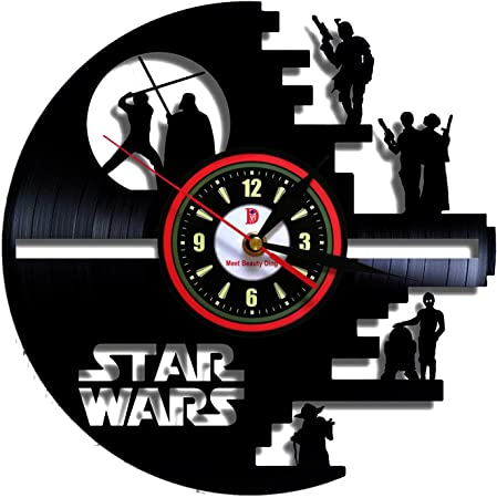 Meet Beauty Vinyle Evolution Star Wars /étoile de la Mort con/çu LP Record Horloge Murale D/écorez Votre Maison avec Moderne Grand Darth Vader Vintage Classique Art Cadeau pour ami Homme et gar/çon