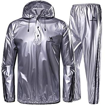 CAMEL CROWN Trajes de Sudoración para Fitness de Hombre Trajes de Sauna Traje de Pérdida de Peso con Capucha para Deportes Correr Yoga Gimnasio