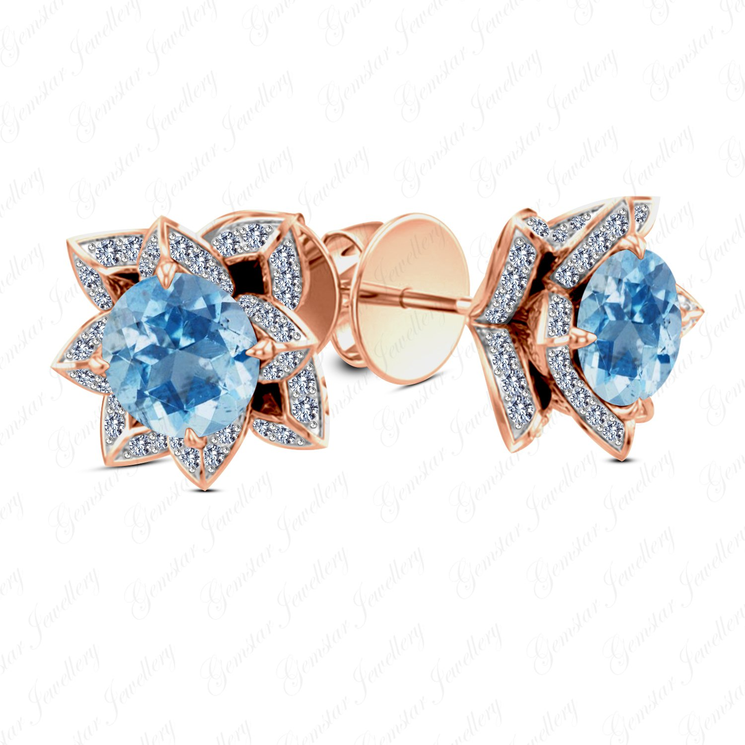 Gemstar Jewellery Classic Stud Lotus Earrings Screw Back In 14k Rose Gold Over Round Cut Aquamarine