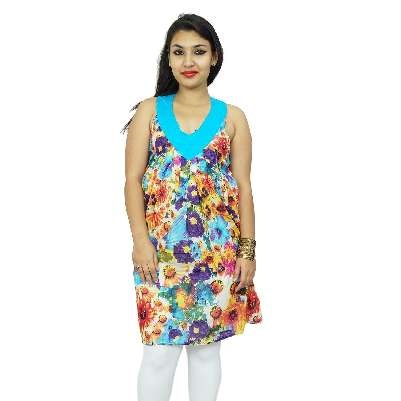 Reine Baumwollkleid mit Blumenmuster Sleeveless Sommer-Abnutzung Tunika Sommerkleid SZ XS