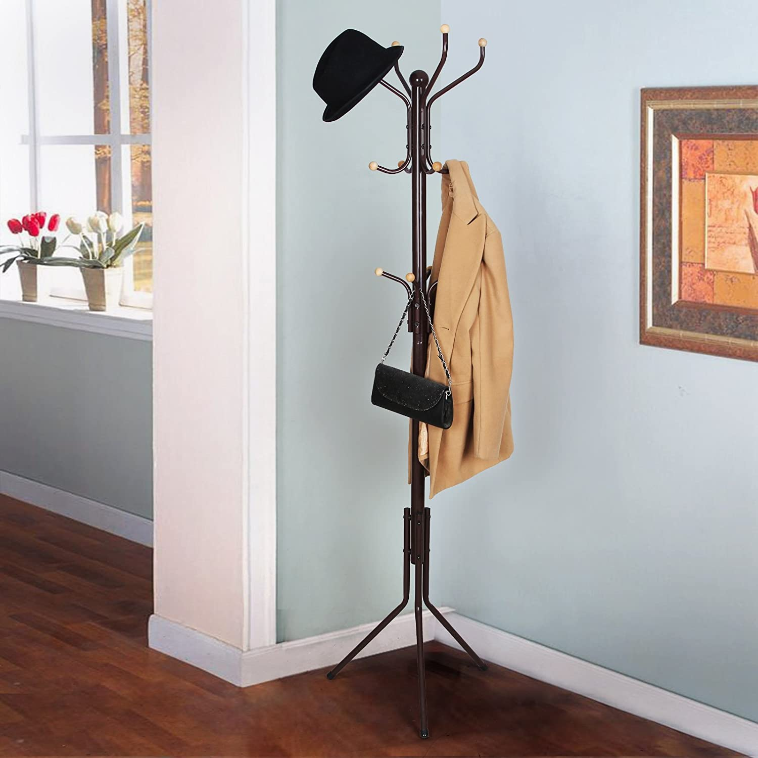 Amazoncom Songmics Metal Coat Rack 12 Hooks Display Hall Tree