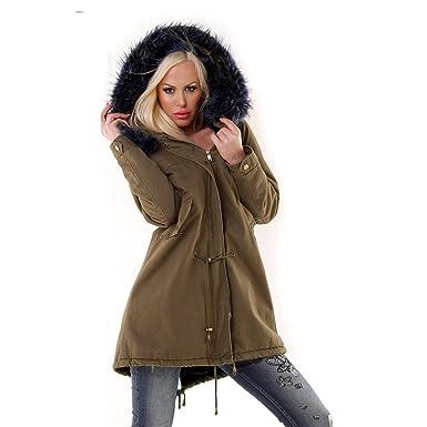 Damen Parka Mantel Jacke mit Fellkapuze innen mit Fell warm gefüttert  Military khaki  Amazon.de  Bekleidung ce659c7d0d
