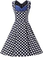 Dresstells 1950s Retro Rockabilly Polka Dots Dress Cocktail Dress Pleated Skirt