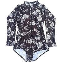 Beachkini Women Zip Up Swimsuit Rash Guard Floral Long Sleeve Swimwear