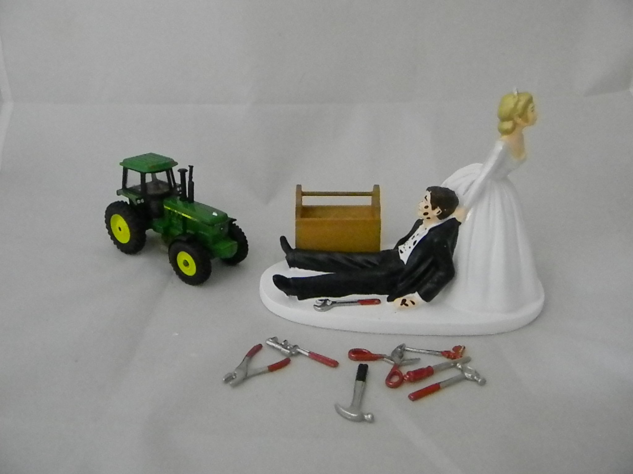 Wedding Green Farm Tractor Shop Garage Mechanic grease Cake Topper by Custom Design Wedding Supplies by Suzanne