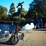 """YONOS Electric Kick Scooter, 8.5"""" Tires 350W Motor, 16 Miles Range & 15.5mph Speed Max, LED Headlight & Display, Portable Folding Easy Carry EBike for Adult, UL Certified, W/Helmet, Black"""