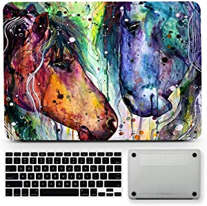 Bizcustom Animal Horse Artwork Hard Rubberized Case Cover for MacBook Pro 13, A1706/A1708/A1988/A1989 w/o Touch Bar Retina Display